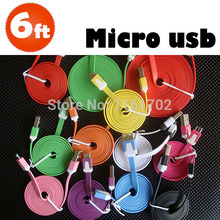Wholesale 100pcs/lot 2M/6FT Colorful Noodle Flat Micro V8 USB Charger Cable Cord For Samrt phone Samsung Galaxy S7 S6 S5 S4