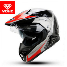 2017 Fashion YOHE cross-country motorbike helmet YH-628A Motor racing motocross ABS double lenses off road Motorcycle helmets