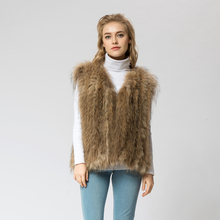 VR041-4 Knitted Real raccoon fur vest/ jacket /overcoat Russian women's fashion winter warm genuine fur vests ourwear(China)