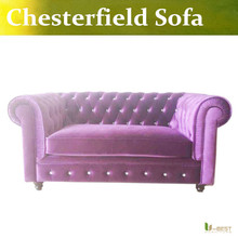 Purple Chesterfield antique fabric sofa, chesterfield loveseat sofa ,2 seater sofa,Country Style living room sofa