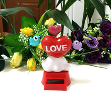 Free Shipping New Style Shaking Under Full Light Novelty Valentine's Day Gift Solar Rocking Love Birds Style Doll Toy(China)