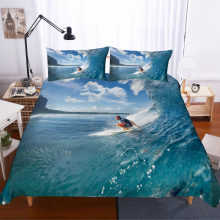 MUSOLEI 3D Duvet Cover Set spindrift Man surfing at sea bedding set Bed Sheet Twin queen king(China)