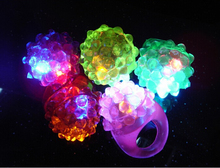 36pcs/lot LED Light Strawberry Flashing Finger Ring, Elastic Rubber Ring, Event Party Supplies Glow Toys(China)