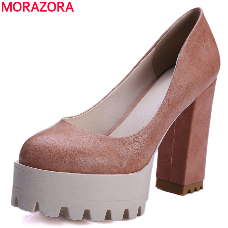 MORAZORA Fashion 2017 New Women Pumps Thick High Heels Platform Spring Summer Single Shoes Woman High Heels Female dress shoes<br>