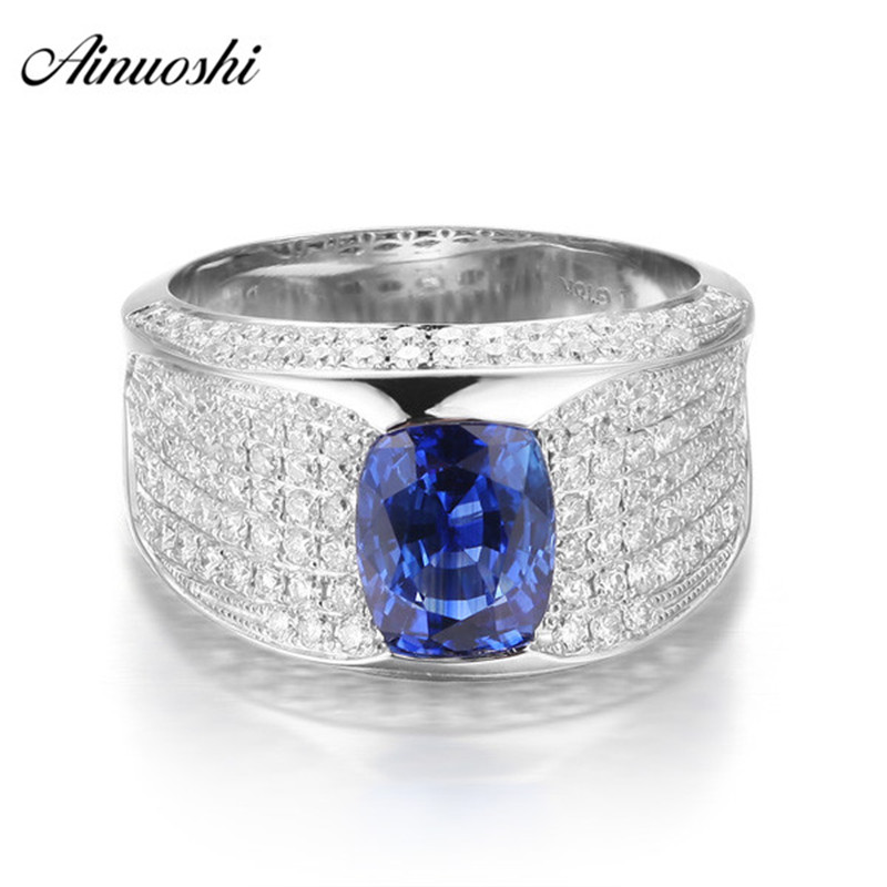 AINUOSHI Classic 1.5 Carats Cushion Cut Blue Sona Bridal Rings 925 Sterling Silver Women Wedding Engagement Xmas Jewelry Rings