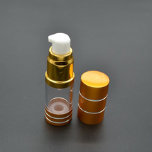 20pcs/lot 10ml Gold Foiled AS Emulsion Essence Airless Pump Bottle Empty Cosmetic Sample Plastic Containers SPB95