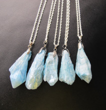 "Worth Buying Natural Ocean Blue Quartz Point Necklace With Silver chain 18"" 5pcs/lot"