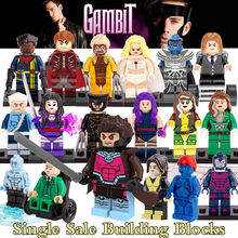 1PC Super Heroes Gambit Remy diy figures X-Men Professor X Rogue Magneto Building Blocks Sets Model Toys for Kids Child XMAS