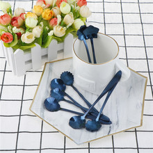 New design Flower Shape Tea Coffee Spoons Blue Cherry Blossom Spoon Ice Cream Spoon Flatware Kitchen supplies(China)