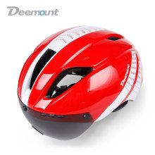 Deemount HMT-013 Sturdy Built Evade Aero Cycling Helmet Bicycle MTB Mountain Road Biking Safety Cap W/ Goggle Lens In-mold