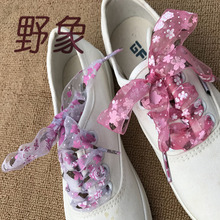wholesale 12 pairs 2.8 cm width decorated pattern pink blue green purple shoelaces women shoe lacing floral lace print shoelace