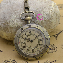 fashion quartz man pocket watch alloy men's fob watches round roman number vintage retro ancient antique yellow dial face style