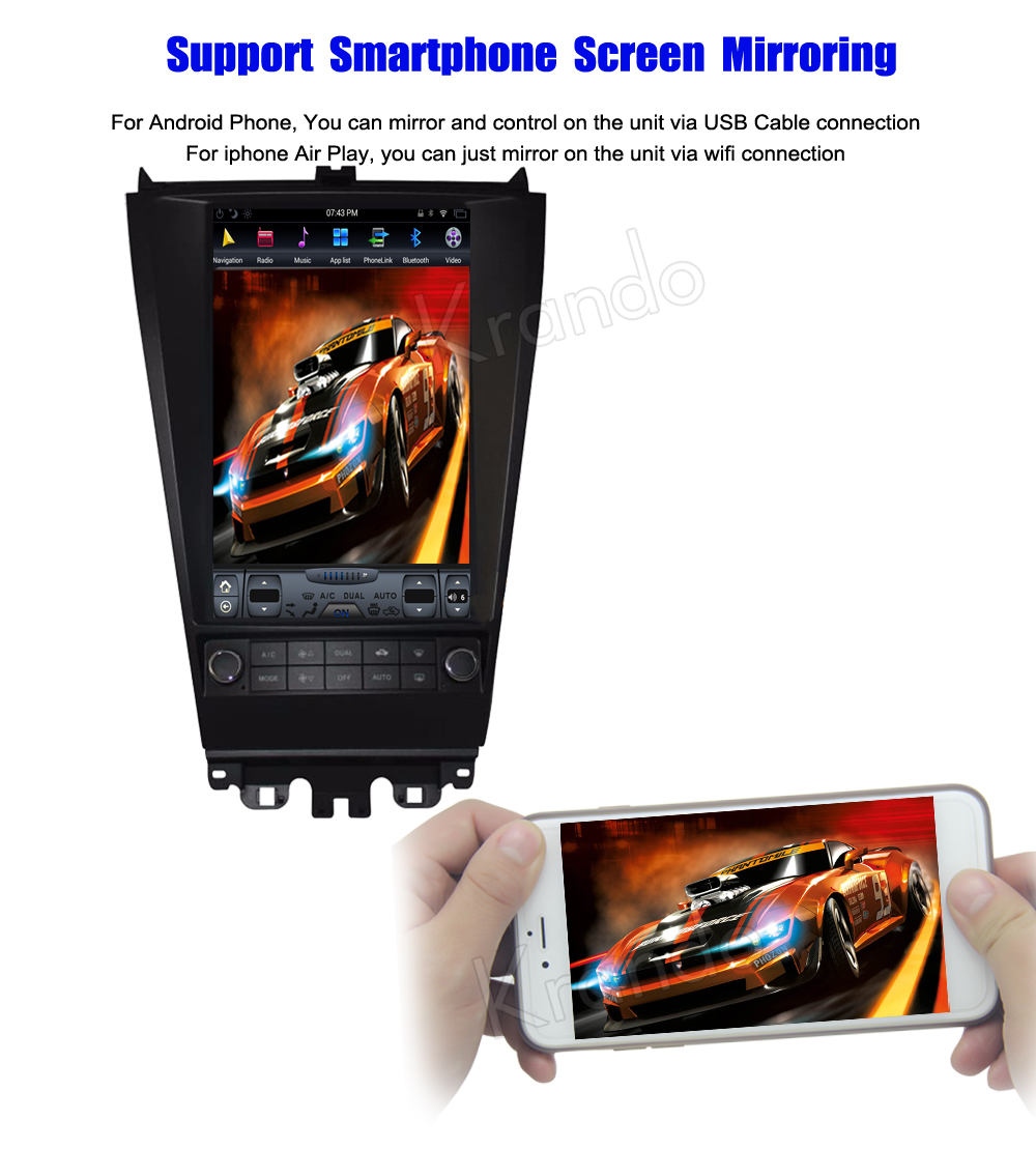 Krando Vertical screen android car radio multimedia for honda accord 7 2003-2007 screen navigation with gps system