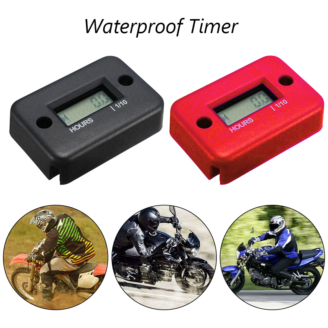 Green NKTECH NK-HS2 Inductive Hour Meter for Gas Engine Lawn Mover Marine ATV Motorcycle Boat Snowmobile Dirt Bike Outboard Motor Generator Waterproof Hourmeter