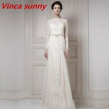 2016 New Vintage Wedding Dresses With Bateau Long Sleeve Cool Muslim Floor Length Lace Bridal Gowns White And Ivory Colour