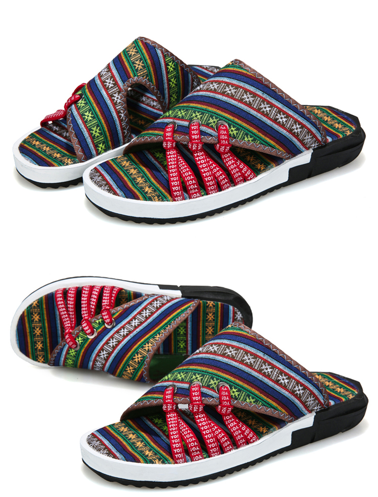 Fashion National style Men Slippers Casual Male Cotton Fabric Summer Outdoor Beach Shoes Non-slip Indoor Floor Leisure ShoesZ172 12 Online shopping Bangladesh