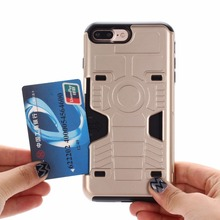 Newest Credit Card Slide Slot Hard Cover Case For Apple iPhone 7 6 6S Plus 6Plus 7Plus 5S SE 5 Phone Cases Hybrid 2 in 1 Shell