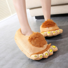 Winter Children big foot Slippers For Kids Plush Baby Girls Boys Cartoon Slippers With Closed Heel Adult Home Flip Flops(China)