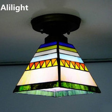 Flush Mount Lamp Tiffany Ceiling Light Stained Glass Lampshade Ceiling Lamp Spanish Style Indoor Lighting E27 Decor Home Lights