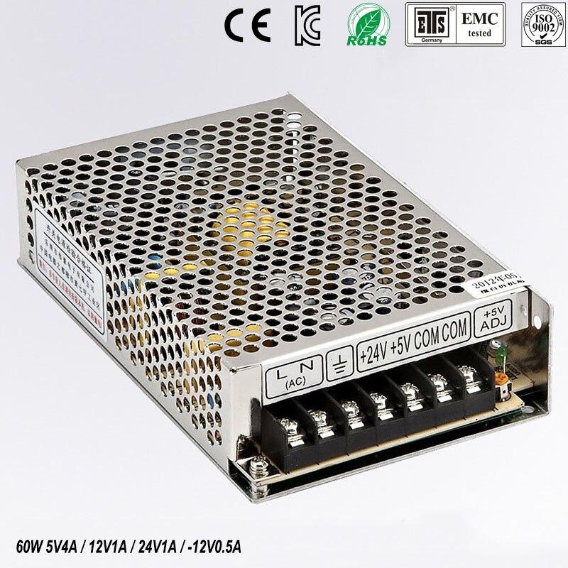 quad output power supply 60W 5V 12V -24V -12V power suply Q-60D Amultiple output ac/dc power supply<br>