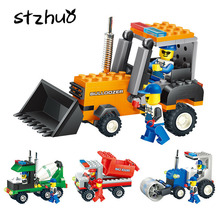 Small Size Mixer Bulldozer Roller Truck Assembly Building Blocks Kit Children's Engineering Vehicle Educational Toy