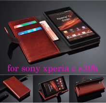 Vintage PU Leather Case for SONY Xperia C S39H C2305 C 2305 2305 Luxury Wallet with Flip Stand Style Phone Bag Cover Black Brown(China)