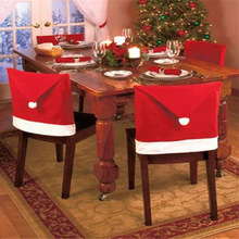 1pcs Santa Clause Cap Red Hat Furniture Chair Back Cover Christmas Dinner Table Party Xmas New Year Decoration(China)