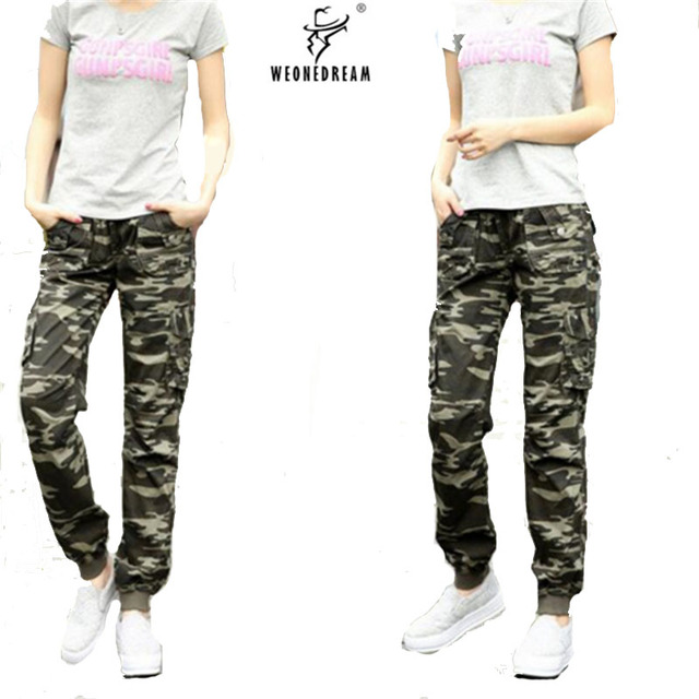 Cargo Pants Long Women Camo Camouflage 2017 Summer Loose Baggy Elastic Waist Military Style Wemen S