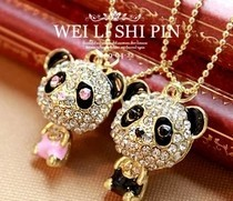 $10 (mix order) Free Shipping Imitation Crystal Sweater Chain Necklace Cute Female Panda Jewelry N4079 10g(China)