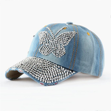 Women Denim Baseball Caps Summer New Beauty Bling Butterfly Fashion Hat Water Washed Distressed Special Design Cap Snapback Hats(China)