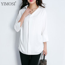 YIMOSI Women Summer Blouse Loose Shirts 2017 New Lady 3/4 Sleeve Chiffon Casual Shirts Female Plus Size 5XL Turn Down Collar Top