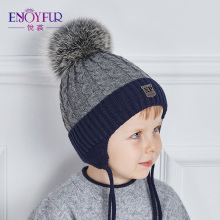ENJOYFUR 2017 Winter baby Hats Real Fox Fur Pompom Hat Knitted Boy Cap Cotton Protect The Ears Hat Warm Thick Kids Beanies(China)