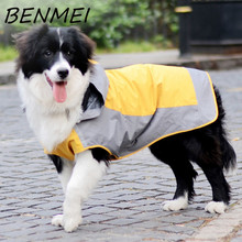 BENMEI New Large Dog Raincoat Super Waterproof Hooded Rain PU Jacket Pet Clothes Fight Color Raincoat Green and Yellow Color(China)