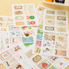 64 pcs/lot creative paper stamp sticker decoration decal diy diary album scrapbooking envelope seal post it stationery