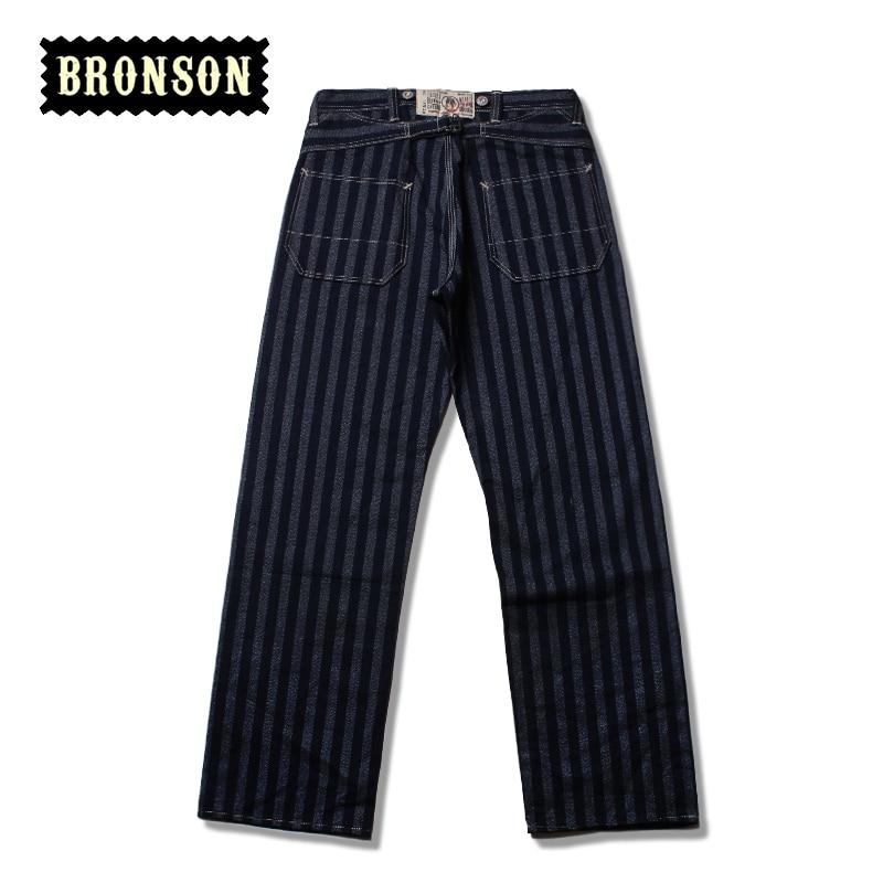 2016 bronson mens stripe raw denim indigo pants male loose straight jean long trousersОдежда и ак�е��уары<br><br><br>Aliexpress