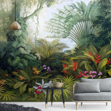 Custom Mural Wallpapers European Style Retro Tropical Rain Forest Plant Scenery Photo Wall Painting Murals Living Room Wallpaper(China)