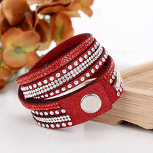 Hesiod Unisex Red Color Leather Wrap Bracelets Long Multi-layer Chain Women Mens Bracelets Wristbands Punk Style Jewelry(China)