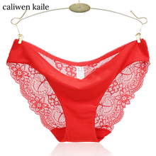 S- XXL 2017 New Women's Sexy Lace Panties Seamless Cotton Breathable Panty Transparent Hollow Briefs Plus Size intimates fashion