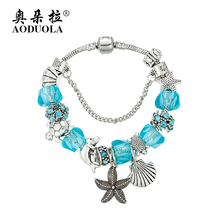 AODUOLA Fashion Jewelry Marine life Charm Bracelets & Bangles For Women Antique Silver Crystal Beads Bracelet Pulseira PB16024