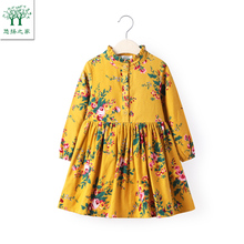 2017 new Cute Baby Girl Dress Cotton Girls Dresses Casual Kids Autumn Spring Clothing long sleeve yellow 2t 3t 4t 5t 6t(China)