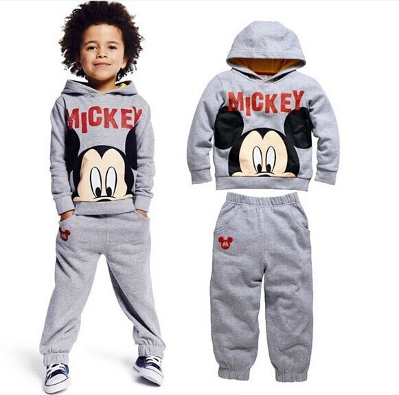 2015 100%cotton baby boys autumn cartoon suits mickey sweatshirt +trousers kids clothes casual hoodies set children clothing set<br><br>Aliexpress