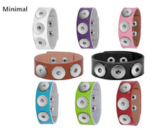 Minimal 8Colors Brand New Trendy Punk Snap Button Bracelets PU leather Bangles For Women/Men Fashion Acessories