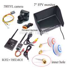 5.8G 600mW 48CH Wireless AV Transmitter and Receiver TS832 RC832 plus +700TVL camera COMS + 7inch LCD TFT FPV 1024 x 600 Monitor