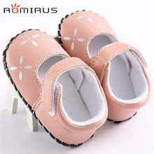 ROMIRUS Modern Baby Girl Shoes Spring Autumn Flowers Embroidered PU Leather Toddler Soft Sole Shoes bb Feb20