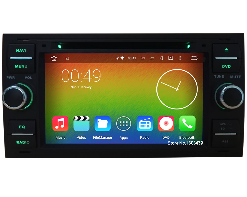 Quadcore android 5 1 1 1024 600 car dvd player radio stereo audio screen for ford transit fiesta focus fusion c max s max kuga