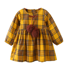 Menoea Girls Autumn Dress 2017 New British Style Children Plaid Fur Ball Bow Kids Clothes Dress Design For 3-7Y Baby Girls Dress(China)