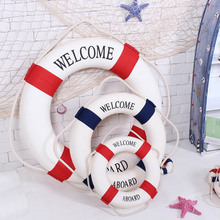 1pc Fashion Mediterranean Family Adorment Life Buoy Crafts 3D Wall Sticker Living Room Decoration Nautical Home Decor ZQ870215