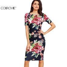 COLROVIE Navy Rose Print Slit Back Slim Pencil Dress 2017 Fall Ladies Round Neck Short Sleeve Knee Length Dress