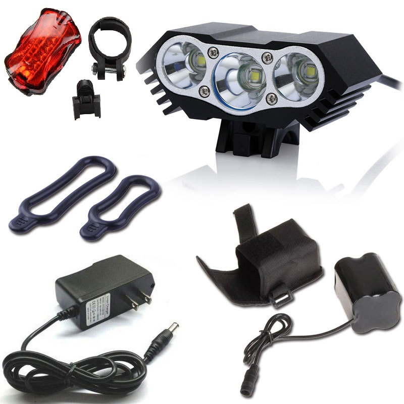 6000 Lumens 3x CREE XML U2 LED X3 Front Bicycle Lamp Bike Light Headlamp+ Headband+ 6400mah Battery pack+charger 4 modes<br>