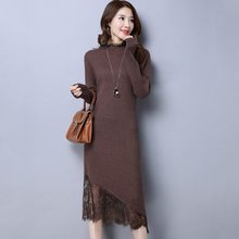 Autumn and winter knitting dresses Woman Lace dresses 2017 New Long sleeves Sexy elasticity Large size dress 90L11